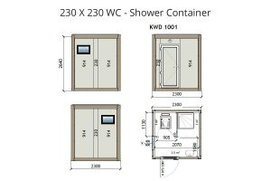 KW2 8x8 WC Shower Container