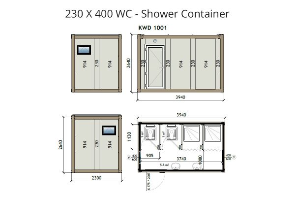 KW4 8x13 WC Shower Container