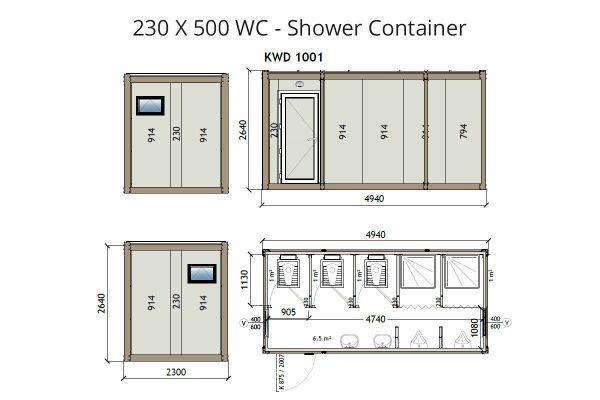 KW6 8x16 Wc Shower Container