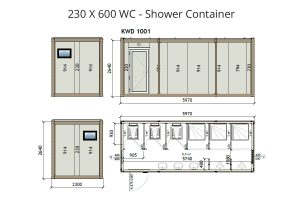 KW6 8x20 Wc Shower Container