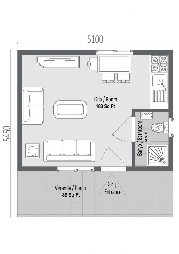 modular homes 28m2 plan scaled
