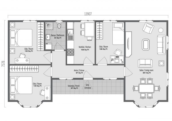 modular homes 97m2 plan scaled
